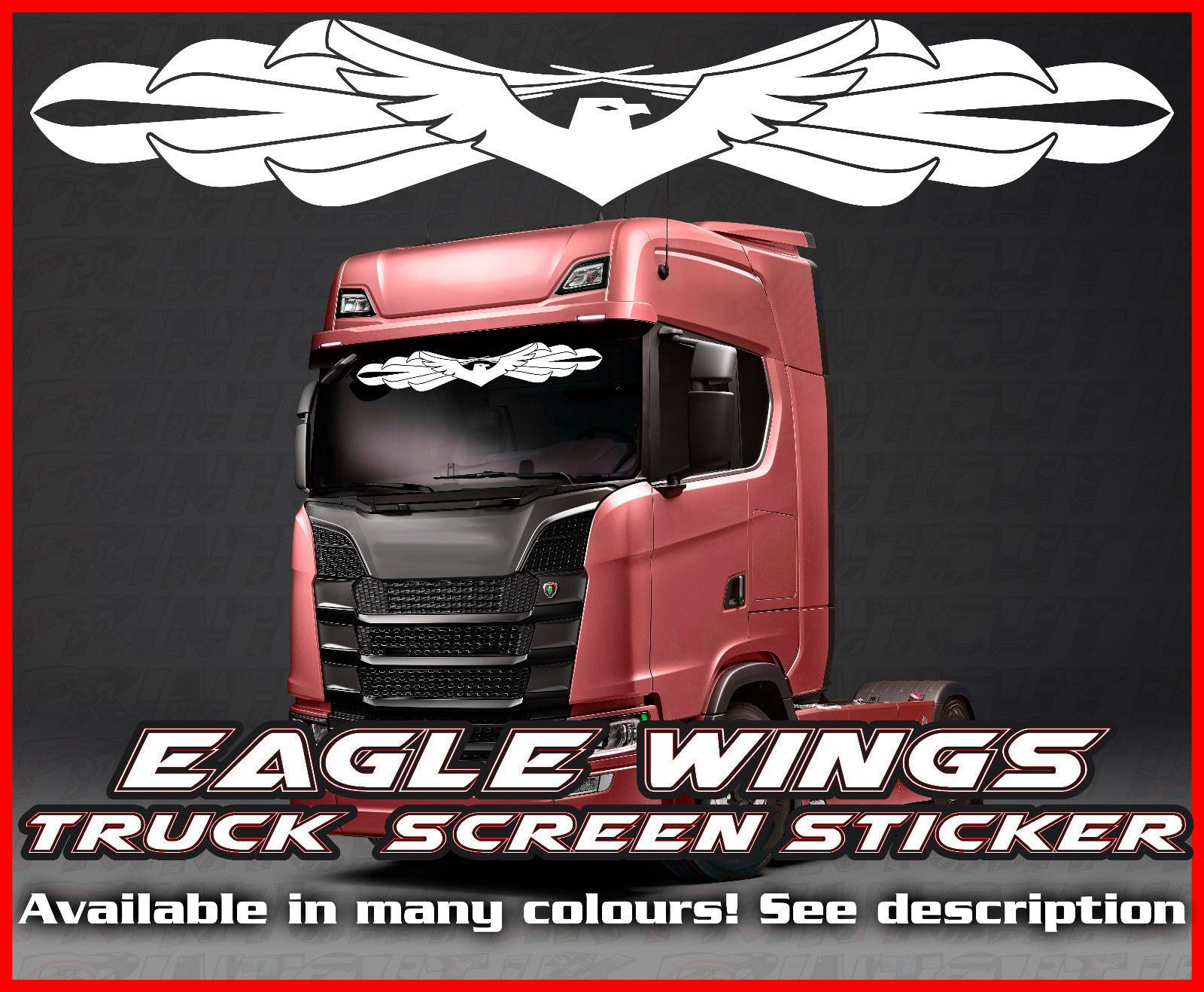 Daf Scania Eagle Wings Lorry Truck Screen Sticker Leyland Daf Man Scania