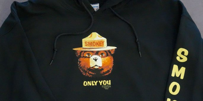 Smokey screen printed hoodie