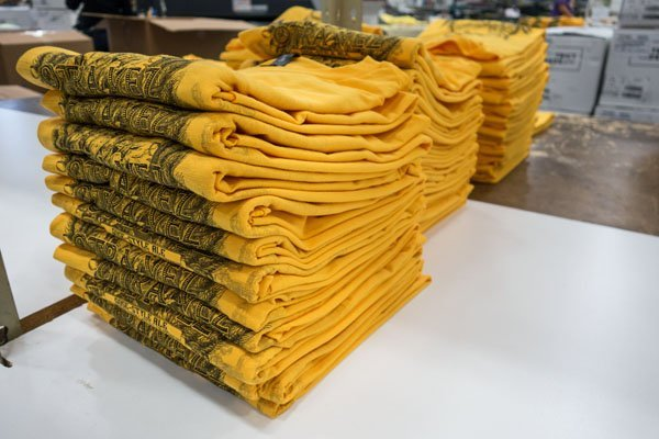 a stack of folded shirts