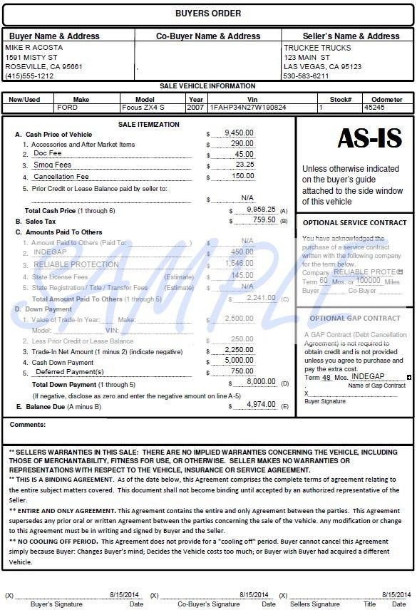 Printerformsbiz Sample E-Forms - vehicle purchase order form