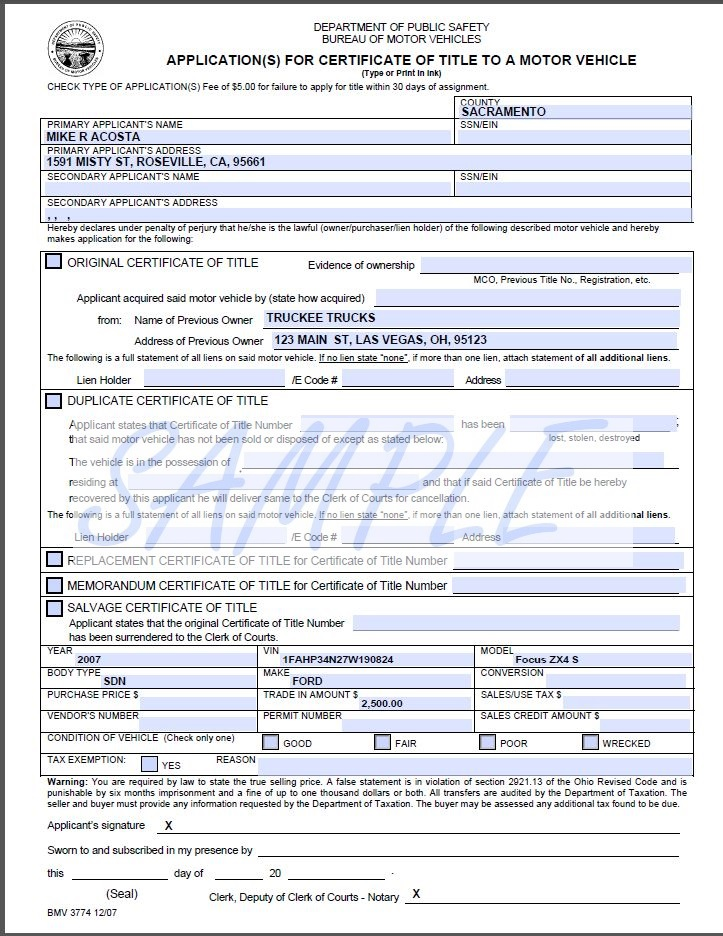 Printerformsbiz Sample E-Forms - nc dmv bill of sale form