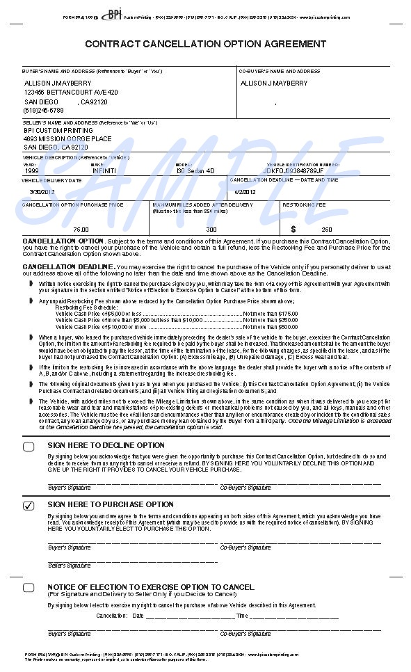 Printerformsbiz Sample E-Forms - auto purchase agreement template