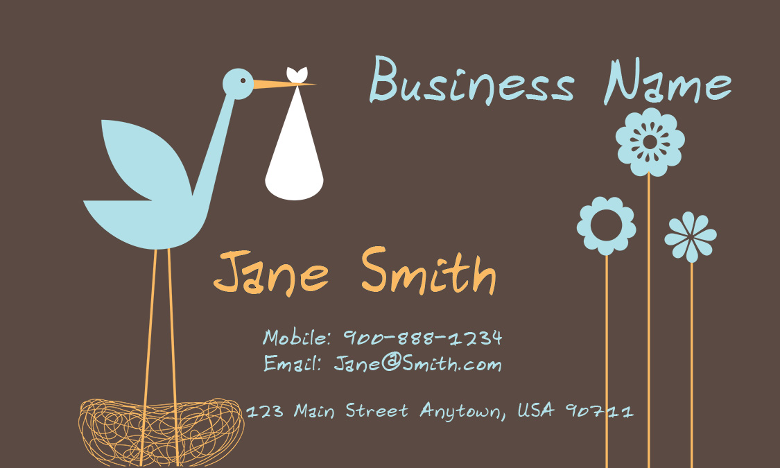 Cheerful Babysitter Business Card - Design #1101061 - baby sitting cards
