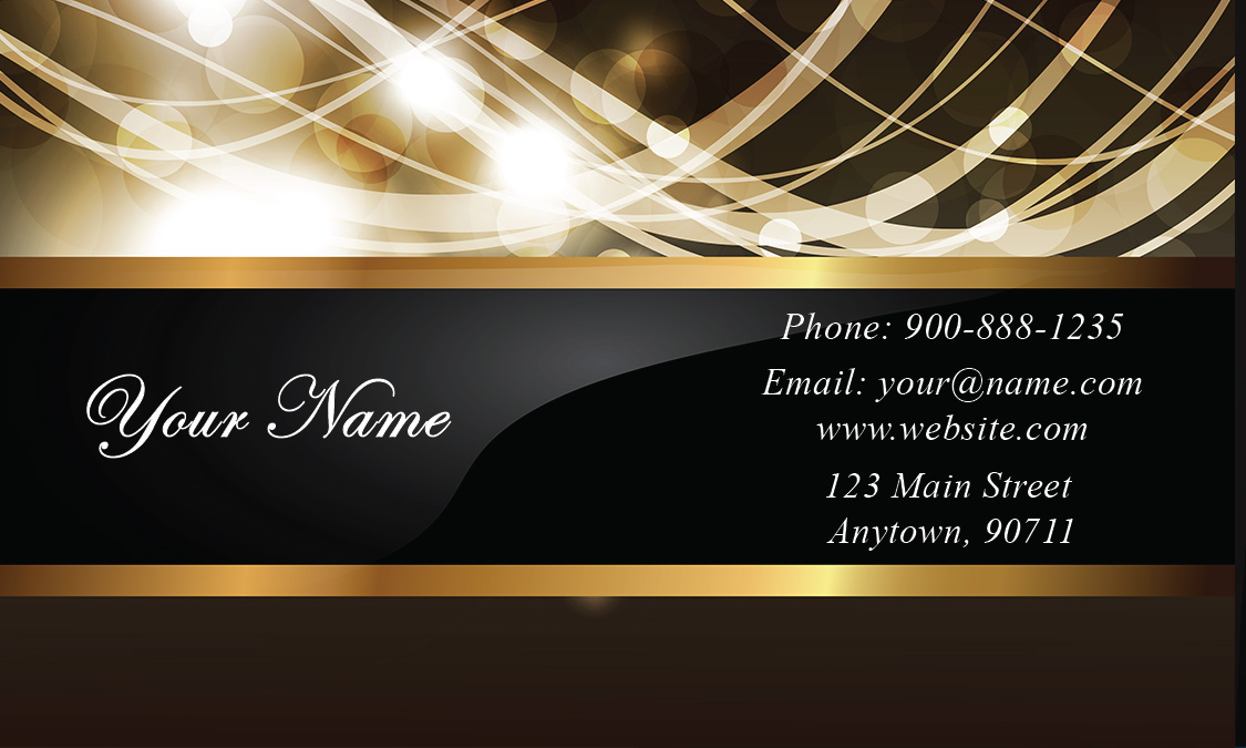 Glossy Effect Gold and Black Event Planner Business Card - Design