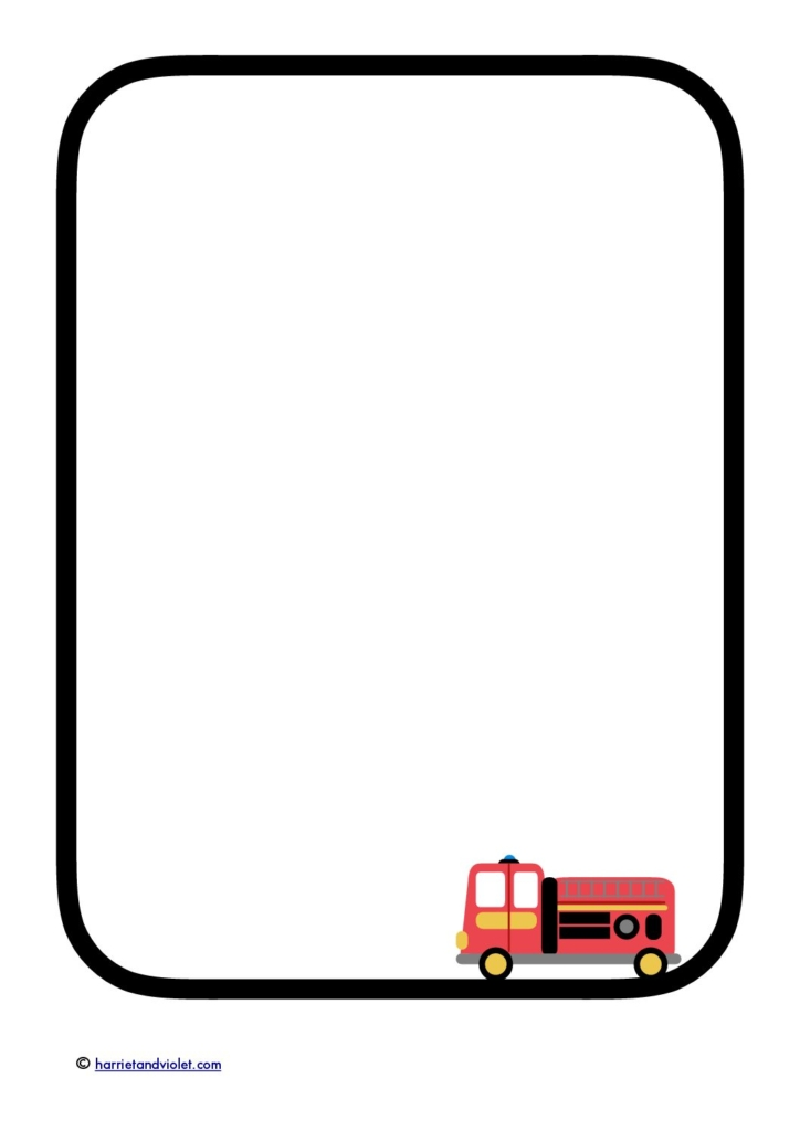 Fire Truck - Fire engine border paper writing template A4 - Free