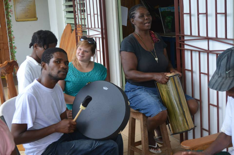 Drumming at the shelter