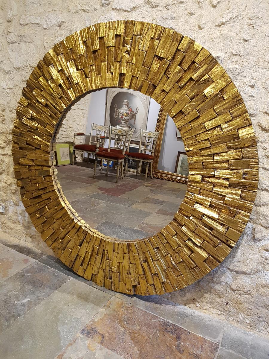 Sun Shaped Mirrors Round Sun Shaped Mirror Golden Wood Circa 1980 145cm Diameter