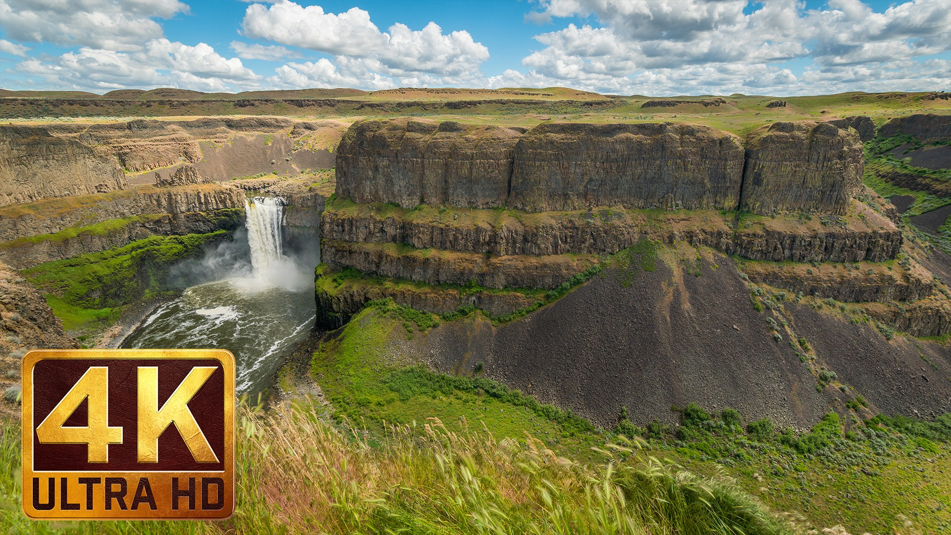 Falls Wallpaper Download 4k Nature Relax Video Palouse Falls In Spring Eastern
