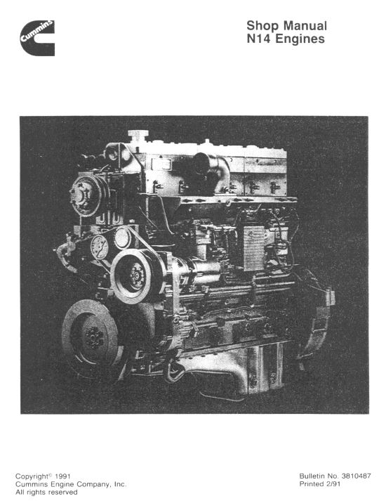 Cummins N14 Engines Shop Manual Celect And Celect Plus - Pdf Free Online