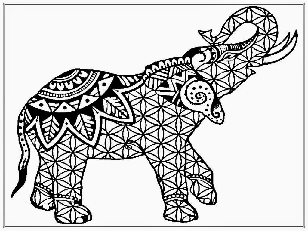 Elephant Coloring Pages For Adults Printable Download