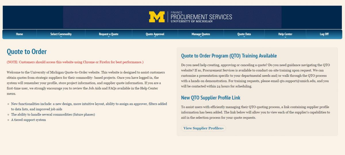 Quote to Order (QTO) System now available! U of M Procurement - quote on presentation