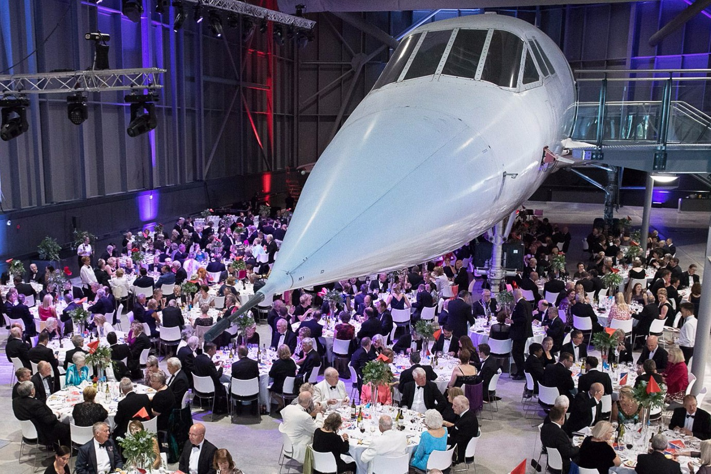 Hangar Plane Dine Under A Suspended Concorde Plane At This Aerospace