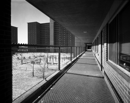 View of exterior walkway at Robert Taylor Homes public housing, Chicago, Illinois, January 3, 1963. (Photo by Hedrich-Blessing Collection/Chicago History Museum/Getty Images)