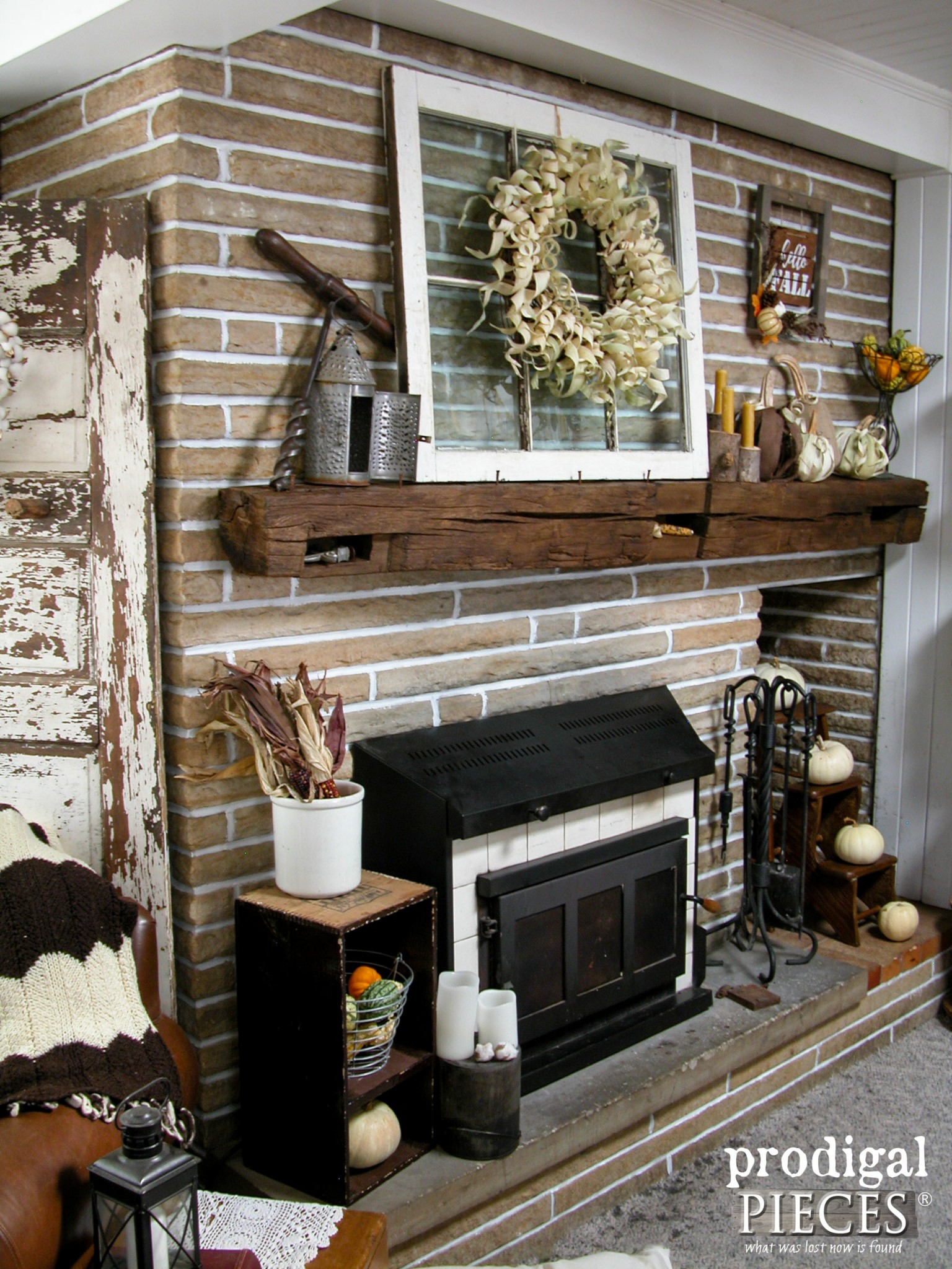 Farmhouse Rustic Fireplace Mantel Decor Corn Husk Pumpkins And Wreath Fireplace Makeover