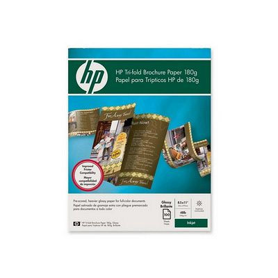 HP Tri-fold Brochure Paper Letter 85 Inch x 11 Inch Glossy 100