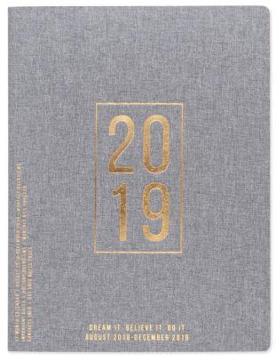 2019 Flex Book Cloth Simple Monthly Planner - Bicolor Dark Grey