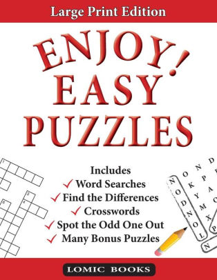 Enjoy! Easy Puzzles Includes Word Searches, Spot the Odd One Out