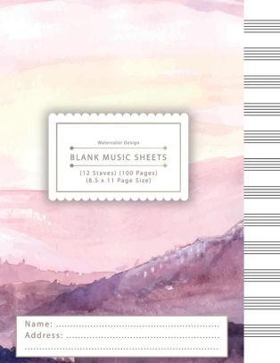 Blank Music Sheets Watercolor Landscape 12 staff music writing