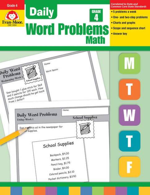 Daily Word Problems Math, Grade 4 by Evan-Moor Educational