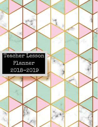 Teacher Lesson Planner 2018-2019 Marble Pink  Green  Daily Lesson