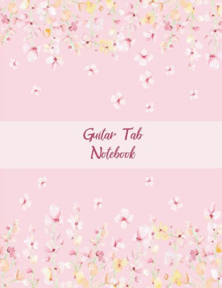 Guitar Tab Notebook Pink Blossom Flowers, Music Composition Books