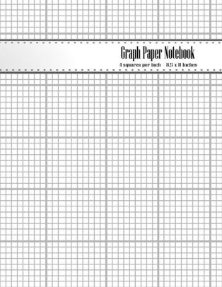 Graph Paper Notebook 1/4 Inch Squares Blank Quad Ruled Graphing