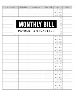 Monthly Bill Payment  Organizer Money Debt Tracker, Simple Home