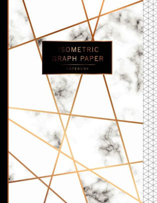Isometric Graph Paper Notebook Marble White Cover, 1/4 Inch Paper