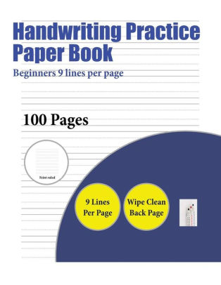 Handwriting Practice Paper Book (Beginners 9 lines per page) A