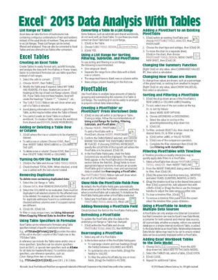 Microsoft Excel 2013 Data Analysis with Tables Quick Reference Guide