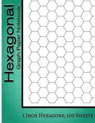 Hexagonal Graph Paper Notebook 1 Inch Hexagons, 100 Sheets