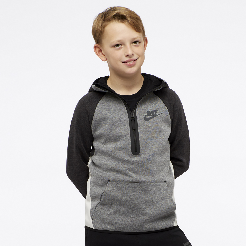 Nike Hoodie Carbon Heather Nike Boys Sportswear Tech Fleece Hoodie Carbon Heather