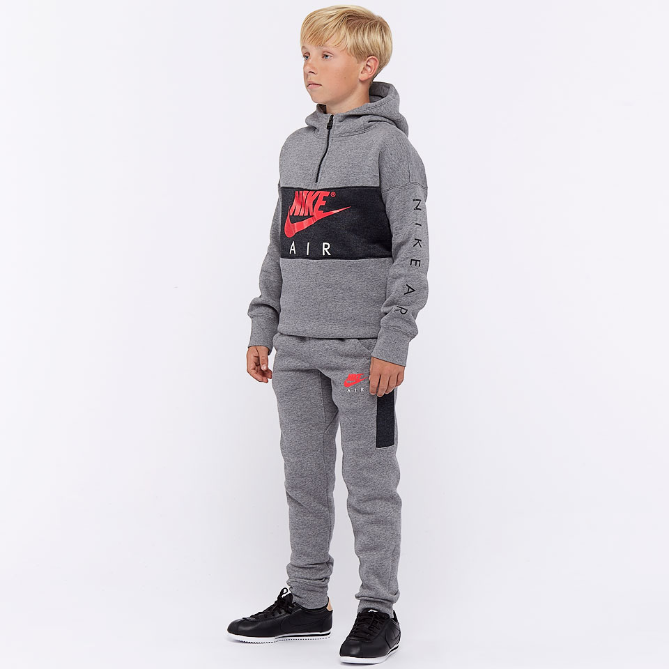 Nike Hoodie Carbon Heather Nike Boys Air Hoodie Carbon Heather Siren Red