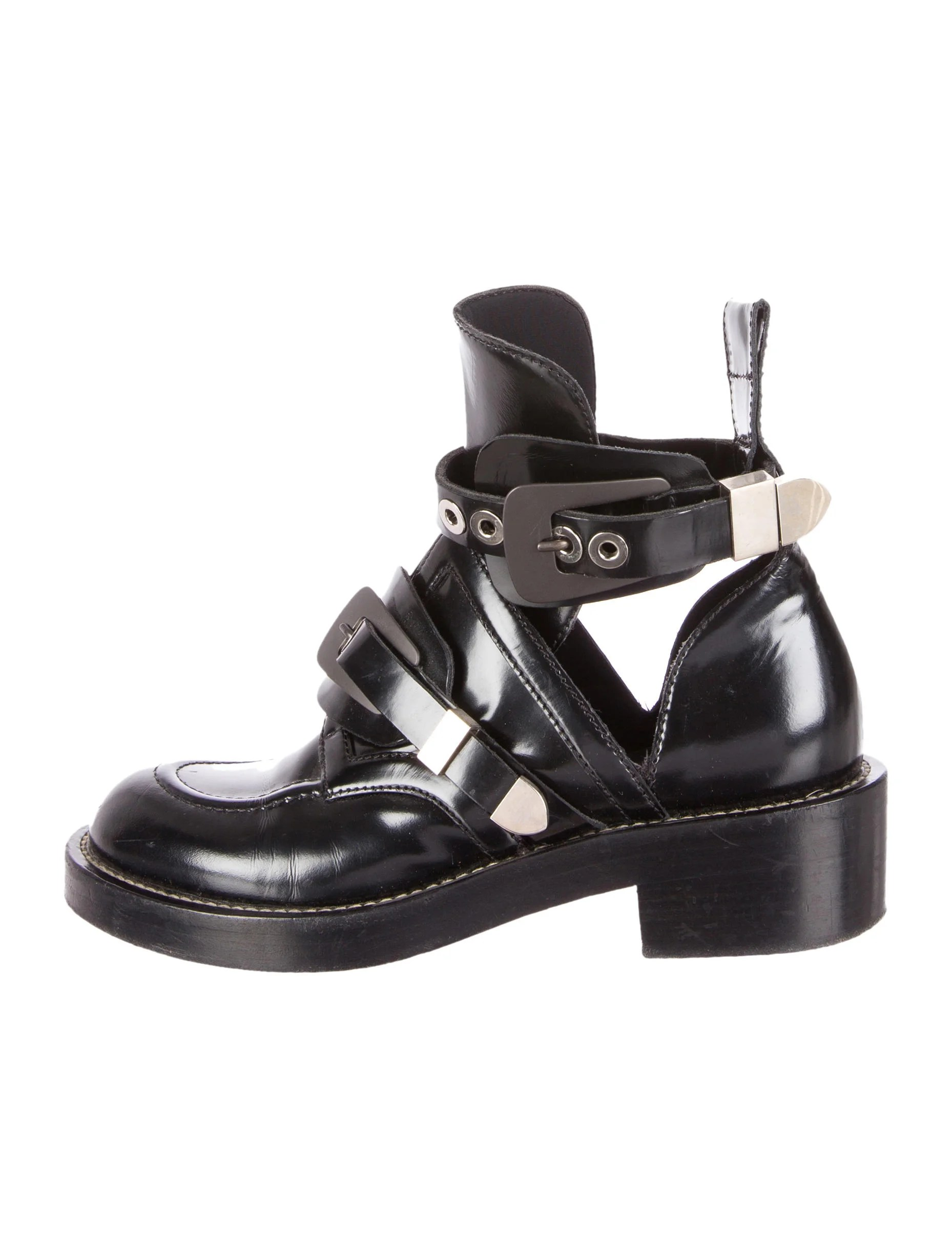 Balenciaga Leather Ceinture Ankle Boots Shoes Bal33459