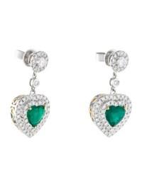 18K Emerald & Diamond Heart Drop Earrings - Earrings ...