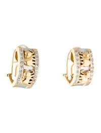 Two-Tone 14K Diamond Elephant Motif Huggie Earrings ...