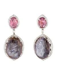 14K Sapphire, Pink Spinel & Diamond Earrings - Earrings ...