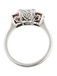 Platinum Princess Cut Diamond Three Stone Engagement Ring ...