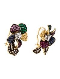 18K Multi-Stone Flower Earrings - Earrings - FJE29205 ...