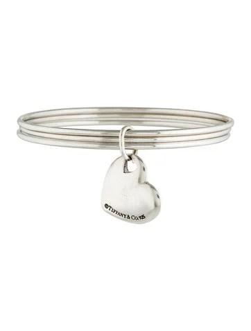 Tiffany Co Heart Charm Triple Bangle Bracelet
