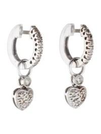Diamond Heart Drop Earrings - Earrings - FJE27286   The ...