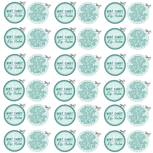 Free Mint Candy Lip Balm Labels Downloadable PDF - free labels template