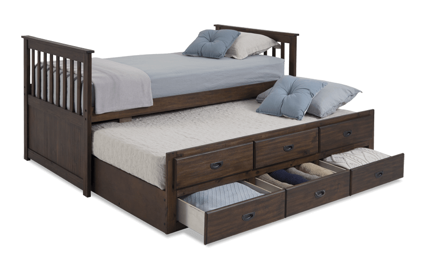 Chadwick Twin Captain Bed With Trundle Bobscom