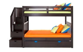 Keystone Stairway Bunk Bed With Storage Trundle Unit