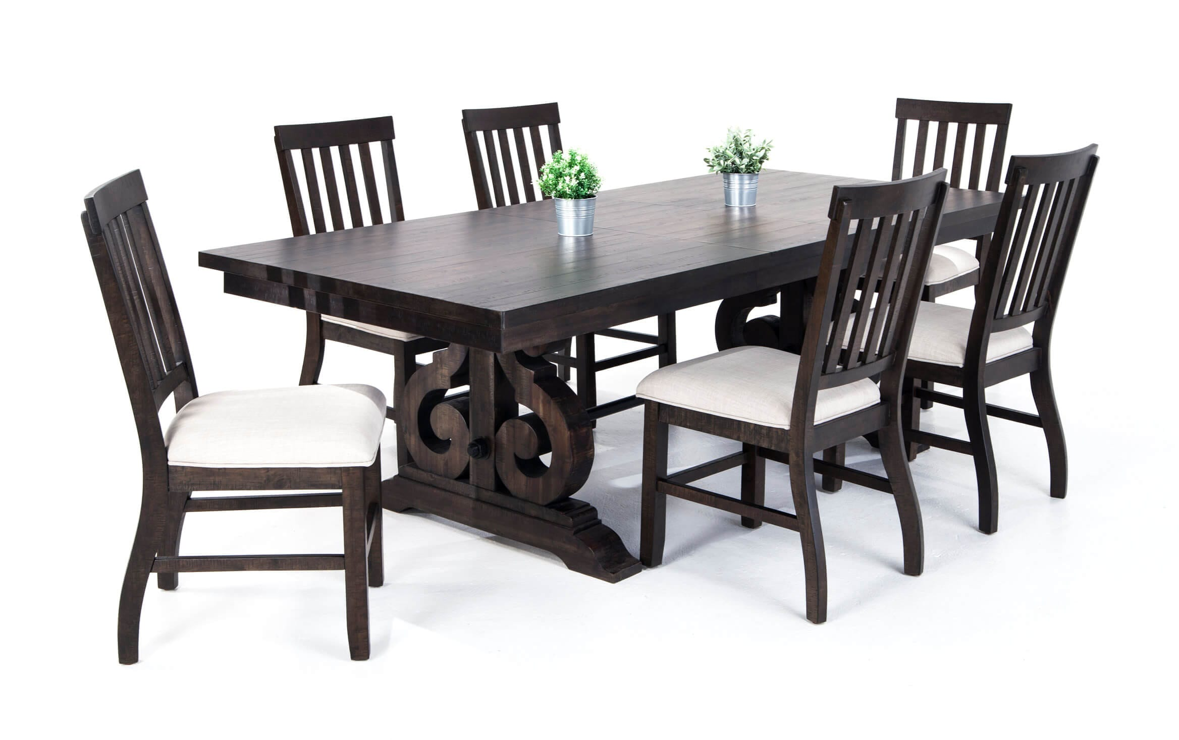 Sanctuary 7 Piece Dining Set With Slat Chairs Bob S Discount Furniture