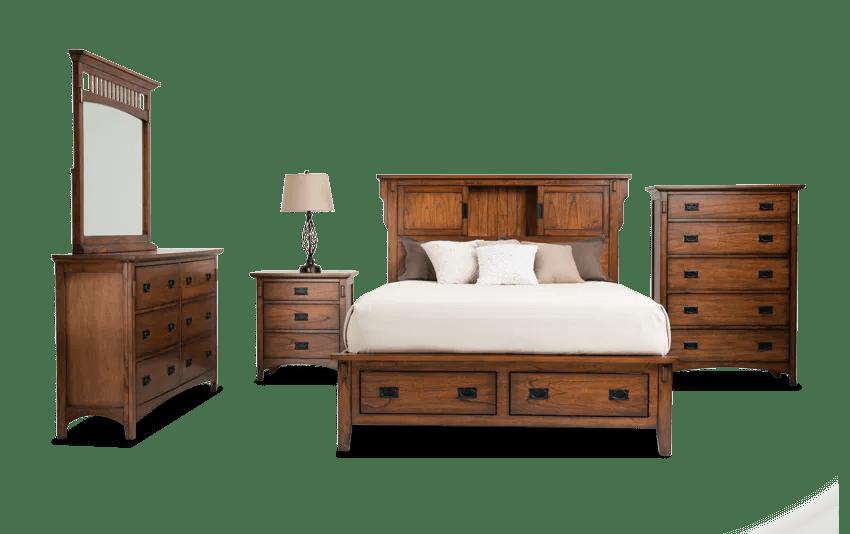 Mission Oak Ii Storage Bed With Dresser Mirror Chest