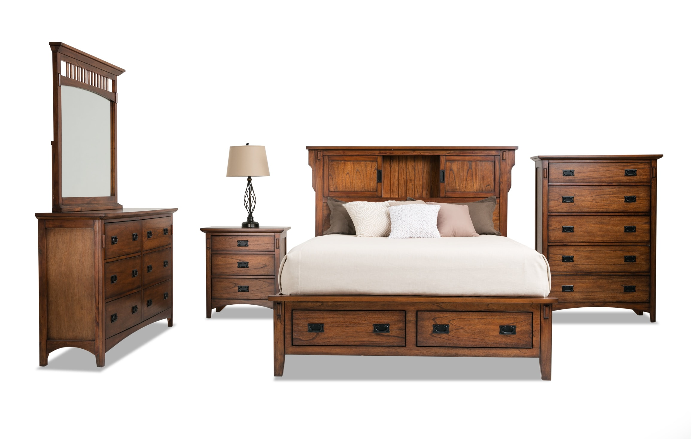 Mission Oak Ii Twin Storage Bedroom Set Bob S Discount Furniture