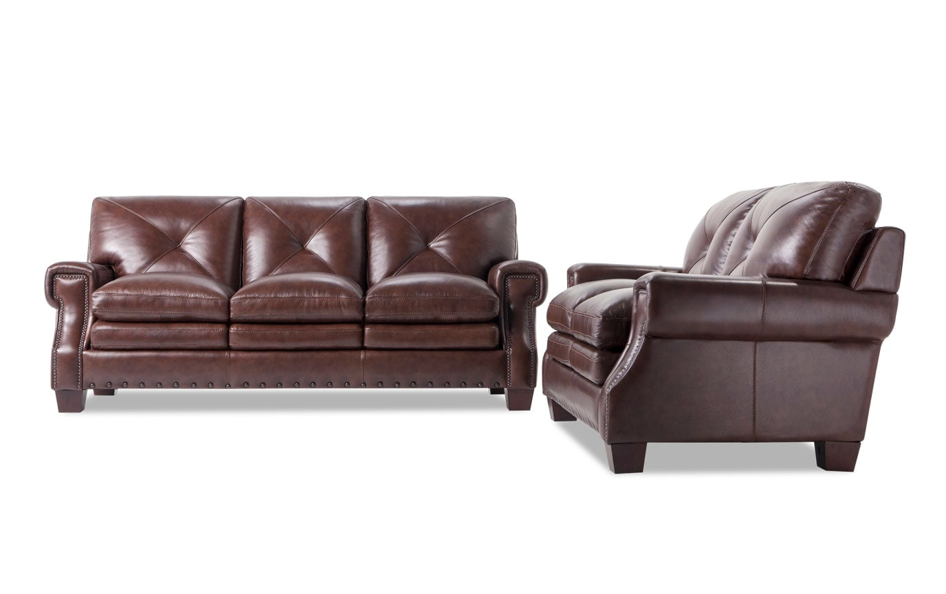 Brown Sofa And Loveseat Sets Kennedy Brown Leather Sofa Loveseat