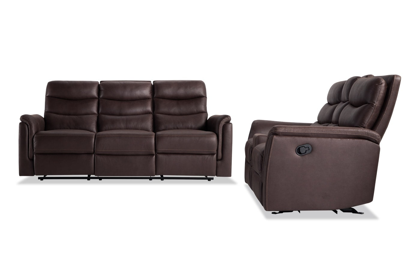 Brown Sofa And Loveseat Sets Forte Brown Manual Reclining Sofa Console Loveseat
