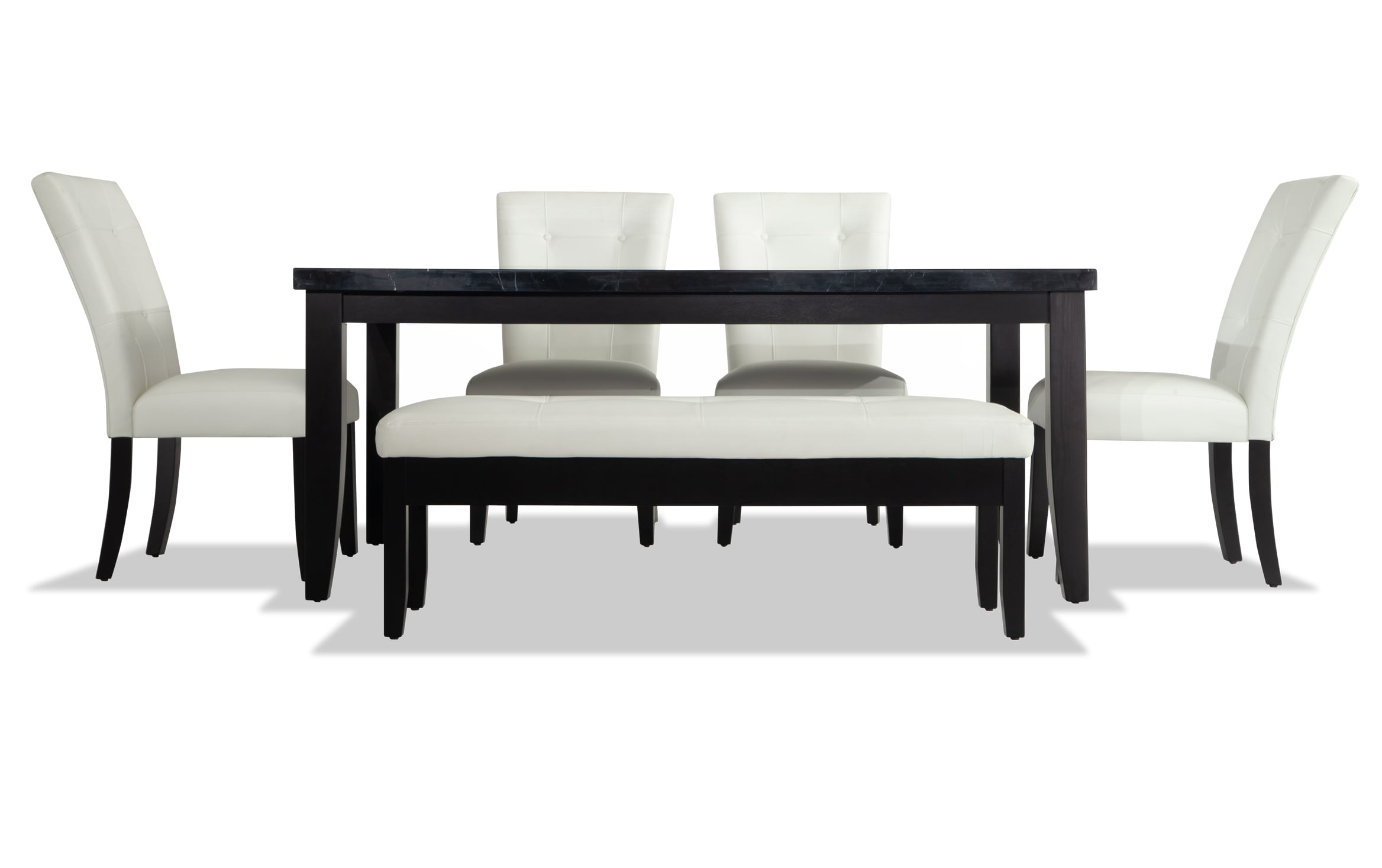 Montibello Black Marble 42 X 70 6 Piece Dining Set With Storage Bench Bob S Discount Furniture